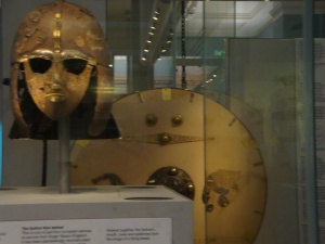 Helmet and shield found in the burial ship at Sutton Hoo British Museum, October 2015