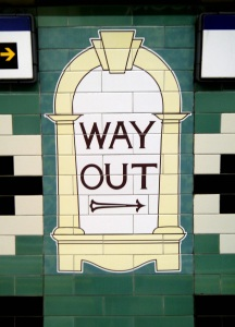 Way out sign at Russell Square