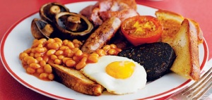 I did not eat the black pudding or baked beans